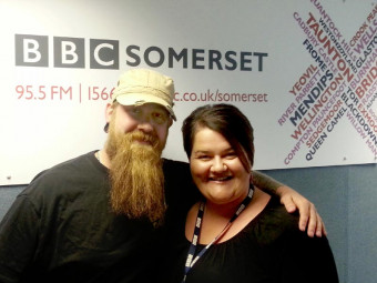 Wessex Beardsman Andy Teague with BBC Somerset's Emma Britton - Click to enlarge